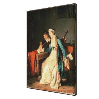 La lección de música, 1790 lona envuelta para galerias