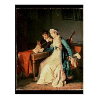 La lección de música, 1790 tarjeta postal