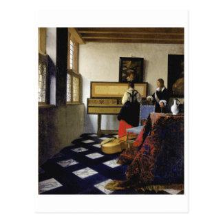 La lección de música de Juan Vermeer Tarjeta Postal