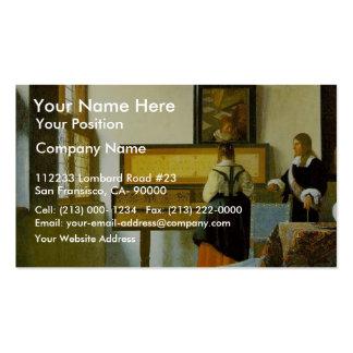 La lección de música de Vermeer Van Delft enero Plantillas De Tarjetas De Visita