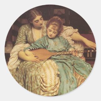 La lección de música pegatina redonda