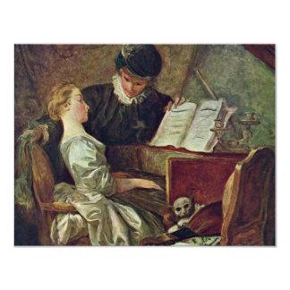 La lección de música, por Fragonard, Jean Honoré Invitación 10,8 X 13,9 Cm