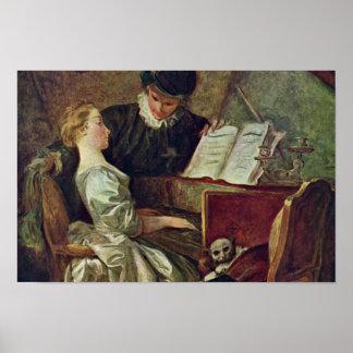 La lección de música, por Fragonard, Jean Honoré ( Posters