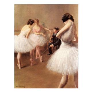La lección del ballet por el Portador-Belleuse de Postal