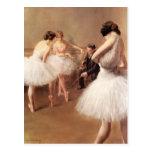 La lección del ballet por el Portador-Belleuse de  Tarjeta Postal