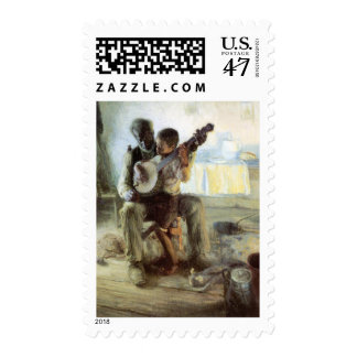 La lección del banjo timbre postal