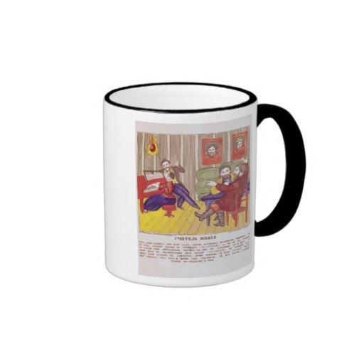 La lección del canto taza de café
