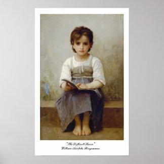 """""""La lección difícil"""" William-Adolphe Bouguereau Impresiones"""