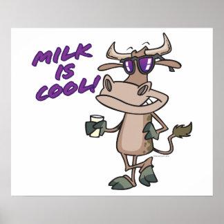 la leche es dibujo animado lindo divertido fresco poster