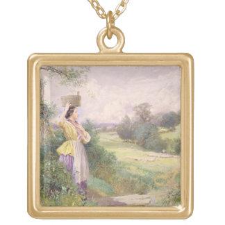 La lechera, 1860 (w/c en el papel) colgante cuadrado