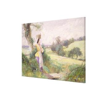 La lechera, 1860 (w/c en el papel) lona envuelta para galerías