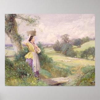 La lechera, 1860 (w/c en el papel) póster