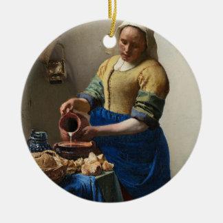 La lechera adorno navideño redondo de cerámica