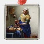 La lechera, c.1658-60 (aceite en lona) adorno cuadrado plateado