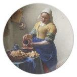 La lechera, c.1658-60 (aceite en lona) plato de cena