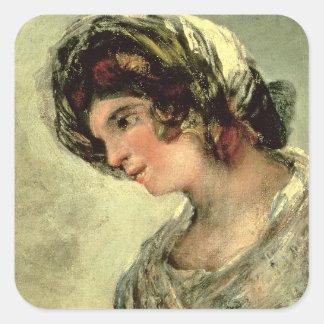 La lechera de Burdeos, c.1824 (aceite en lona) Pegatina Cuadradas Personalizadas