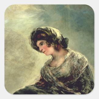 La lechera de Burdeos, c.1824 Calcomania Cuadradas Personalizada