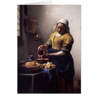La lechera de Juan Vermeer Tarjeta De Felicitación