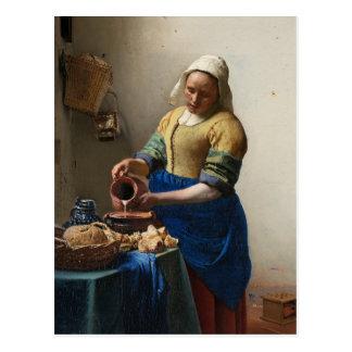 La lechera de Juan Vermeer Postal