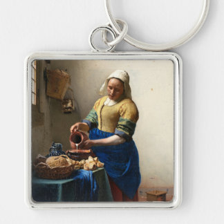 La lechera, enero Vermeer Llavero Cuadrado Plateado
