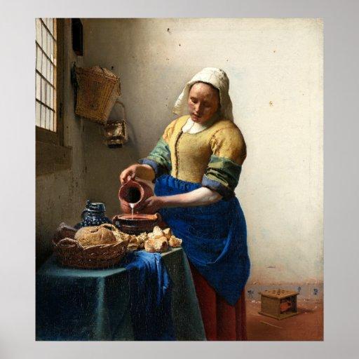 La lechera, enero Vermeer Posters