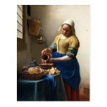 La lechera, enero Vermeer Tarjeta Postal