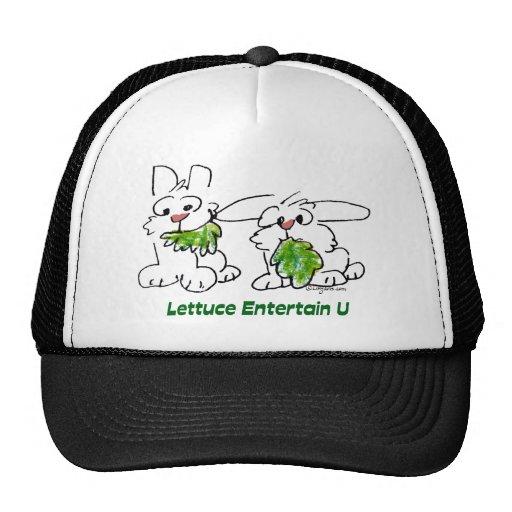 La lechuga entretiene conejos del dibujo animado d gorro