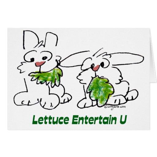 La lechuga entretiene conejos del dibujo animado tarjeta de felicitación
