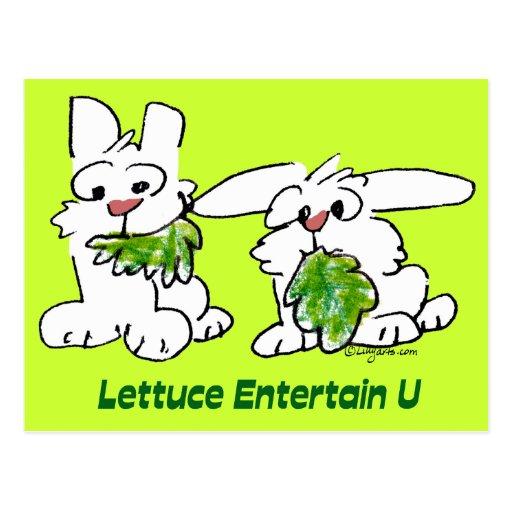 La lechuga entretiene conejos del dibujo animado postal