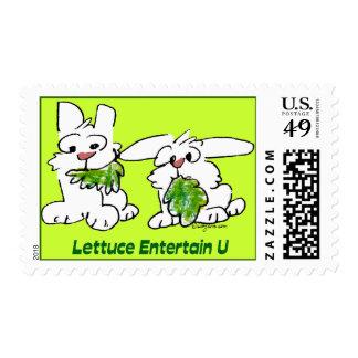 La lechuga entretiene franqueo de los conejos de sello postal