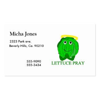 La lechuga ruega tarjetas de visita