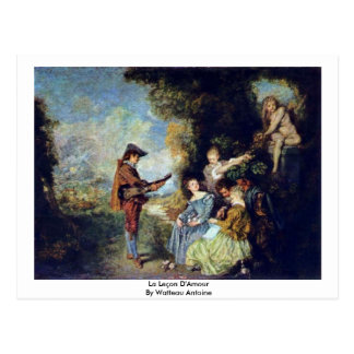 La Leçon D'Amour de Watteau Antoine Tarjeta Postal