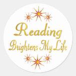 La lectura aclara mi vida pegatina redonda