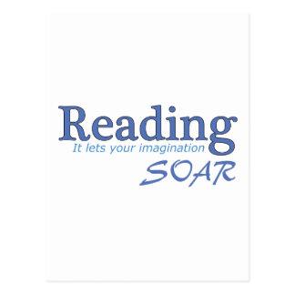 La lectura… de él deja su imaginación elevarse postal