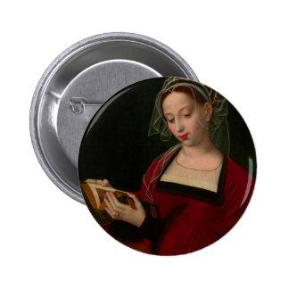 La lectura de Magdalen de Ambrosius Benson Pin Redondo De 2 Pulgadas
