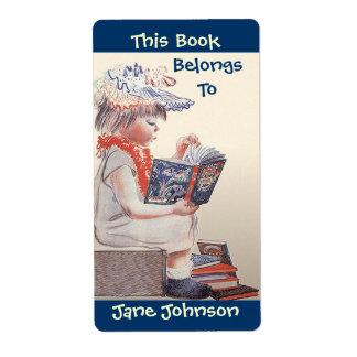 La lectura del chica del vintage de los Bookplates Etiquetas De Envío