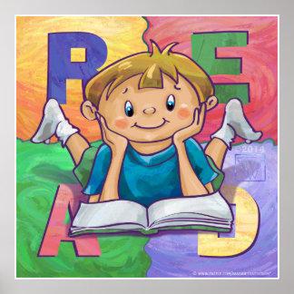 La lectura del muchacho LEYÓ el poster colorido