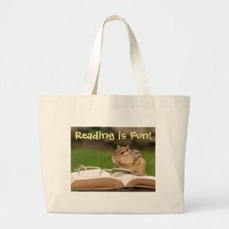 La lectura es Chipmunk Bookbag de la diversión Bolsa Tela Grande