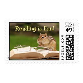 ¡La lectura es diversión! Franqueo del Chipmunk Timbre Postal