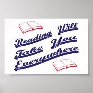 la lectura le tomará por todas partes póster