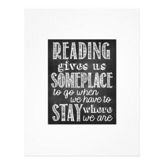 La lectura nos da en algún lugar para ir membrete a diseño