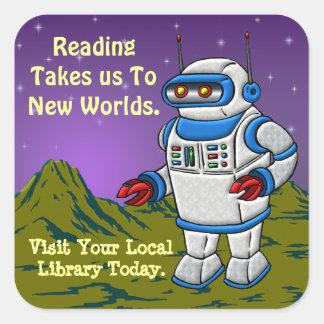La lectura nos lleva a los nuevos mundos pegatina cuadrada