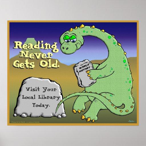 La lectura nunca consigue vieja póster