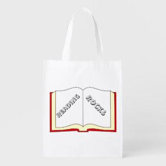 La lectura oscila el bolso de ultramarinos bolsas reutilizables