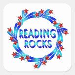 La lectura oscila la diversión calcomania cuadrada personalizada