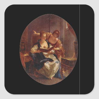 La Lecture', Francois Boucher_Groups and Figures Square Sticker