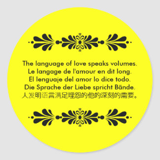La lengua del amor etiquetas redondas