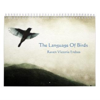 La lengua del calendario de pared de los pájaros