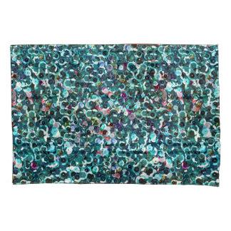 La lentejuela de las azules turquesas de la funda de cojín