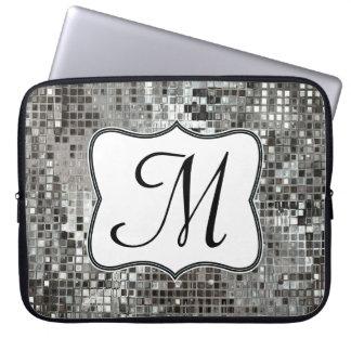 """La lentejuela de plata deslumbra el monograma 15"""" manga portátil"""